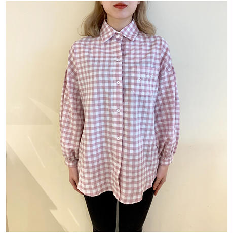 épine embroidery arm volume shirt gingham dasty pink