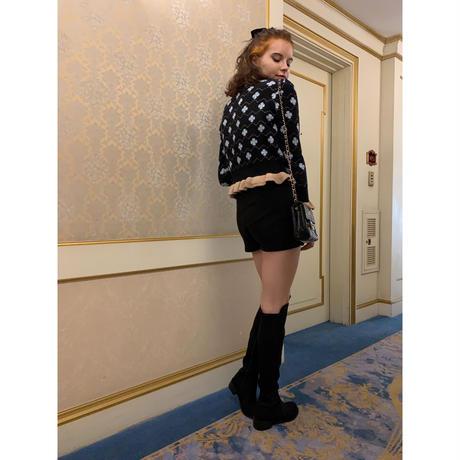 rib knit short pants black