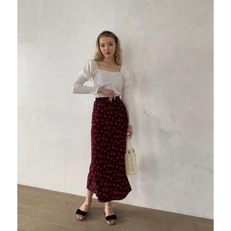 dot flower straight long skirt black