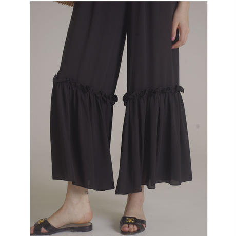 see-through  frill wide pants