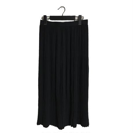 roling pleats long skirt black