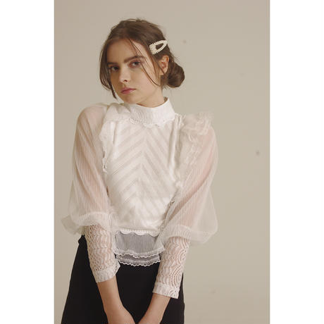 arm see-through frill knit tops white