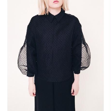 arm volume dot see-through blouse