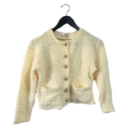 pearl button tweed knit cardigan cream yellow