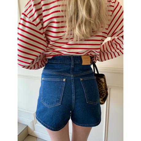 épine high-waist denim short pants