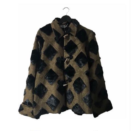square design fur duffel coat