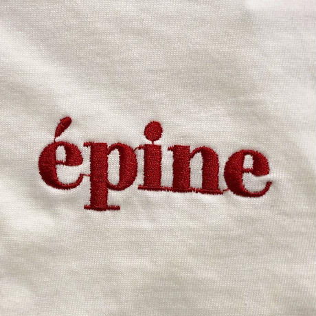 epine embroidery tee white×red