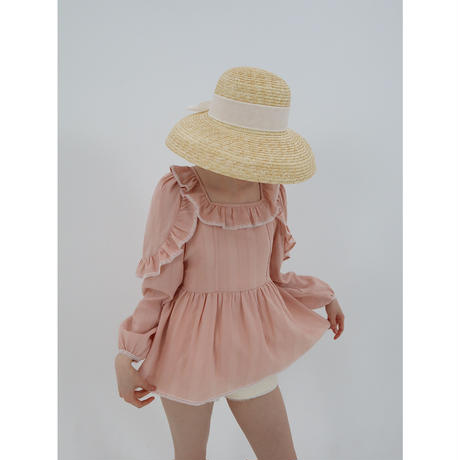 shoulder frill lace tunic pink