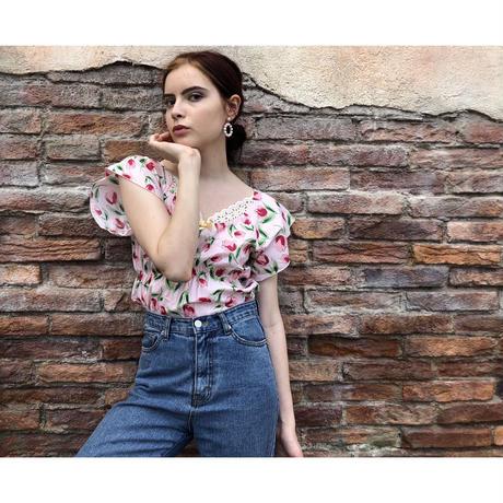 tulip lace ribbon blouse pink