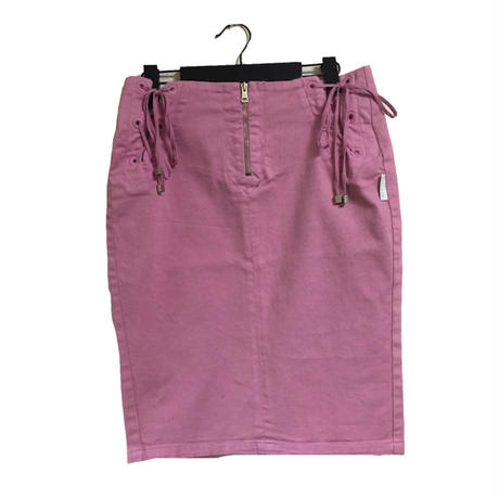 lace-up  design skirt pink