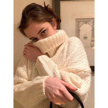 high neck low gauge knit ivory