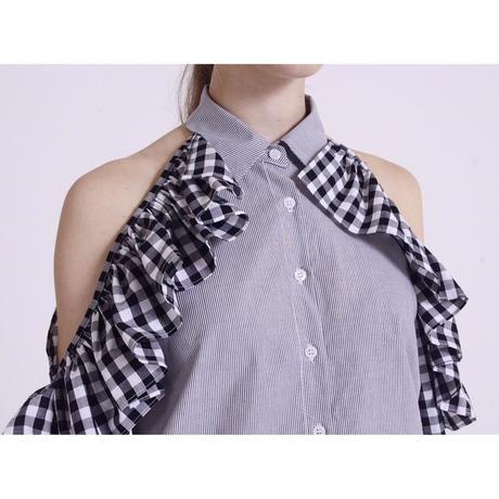 gingham check open shoulder shirt