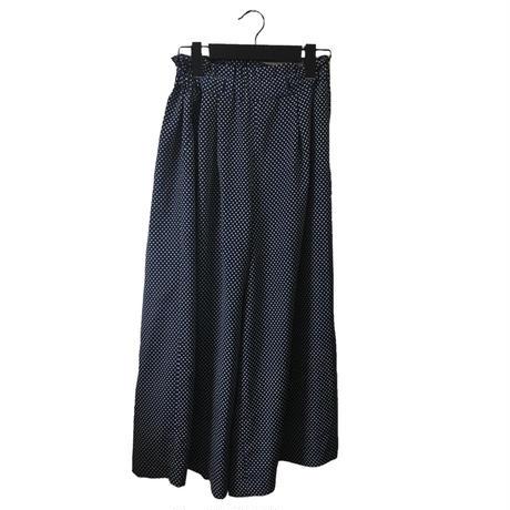 dot wide pants navy