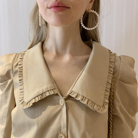 frill collar gather blouse