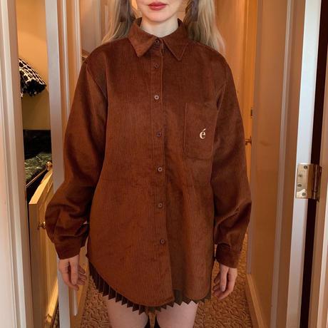 é logo corduroy big shirt brown