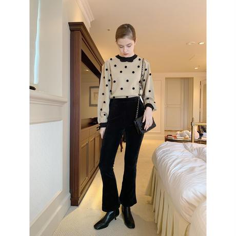 high-waist fit corduroy pants black