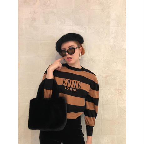 ÉPINE border arm volume knit black×brown