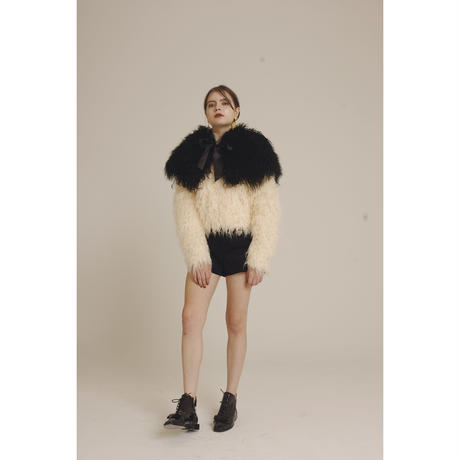 Tibet lamb volume fur stole black