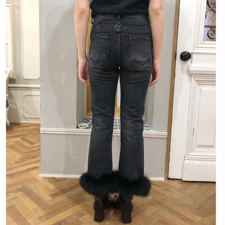 real fur denim black