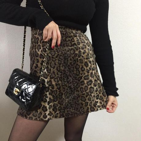 leopard fur mini skirt