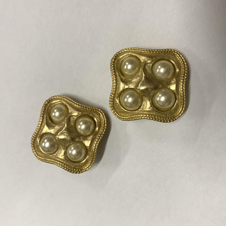 gold pearl square vintage earring(No.3465)