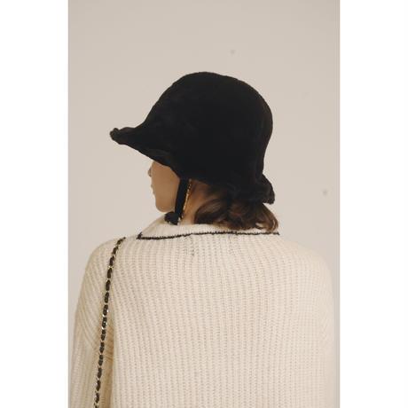 ribbon fur hat black
