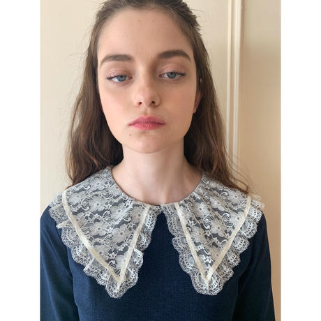 lace collar denim onepiece