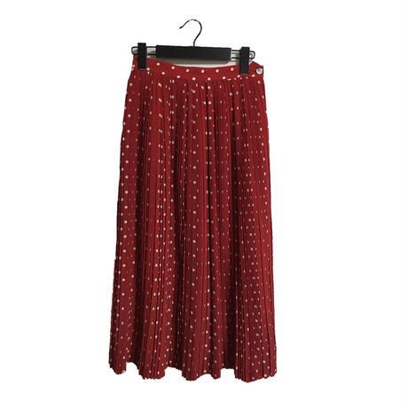 dot pleats long skirt red