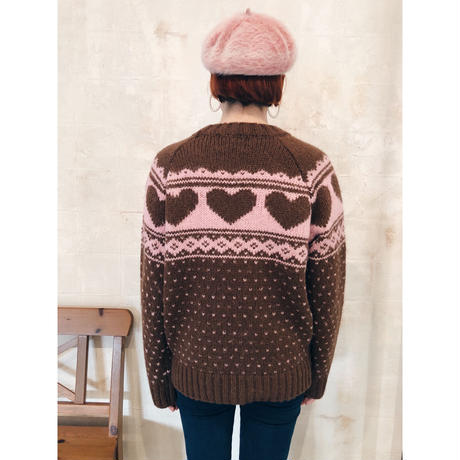 Nordic heart wool knit brown