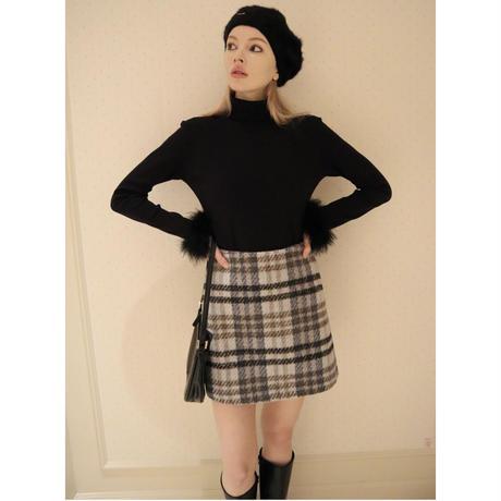 tweed check mini skirt ice blue