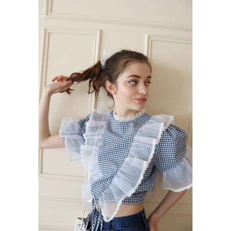 see-through frill lace gingham check Tyrol blouse blue