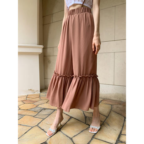 see-through chiffon frill pants brown