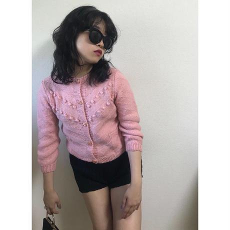 pon pon knit cardigan pink