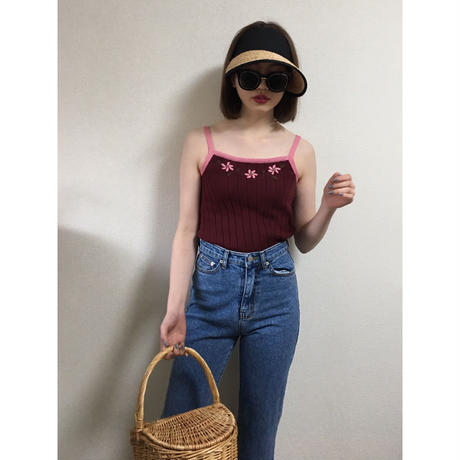 Flower design knit camisole pink
