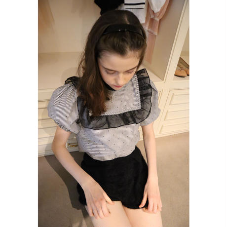 dot stripe see-through frill blouse black