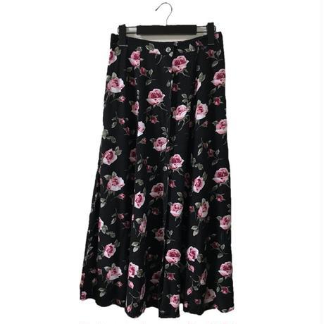 flower design long  skirt black