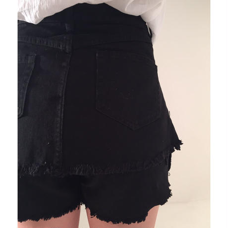 double fringe short pants