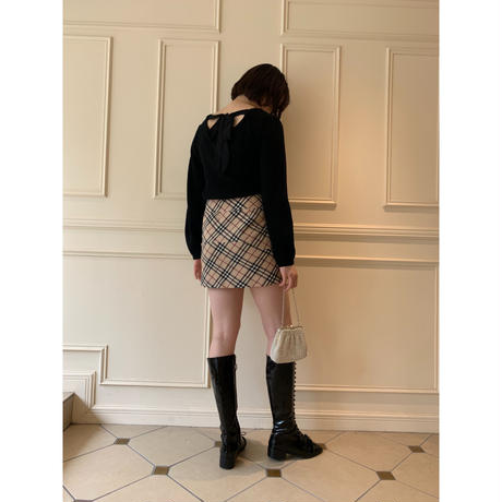 Burberry check design button mini skirt (No.3863