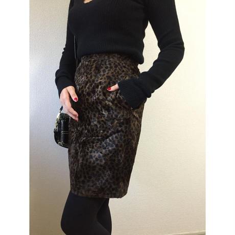 leopard fur skirt dark blown