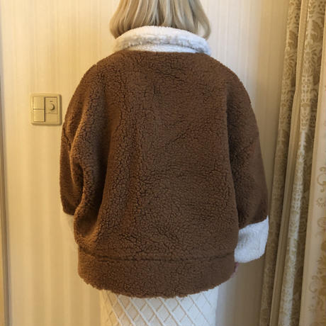 bi-color boa coat brown