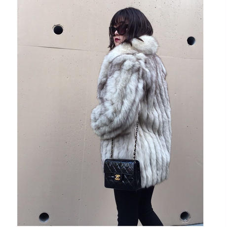 fox fur coat ivory