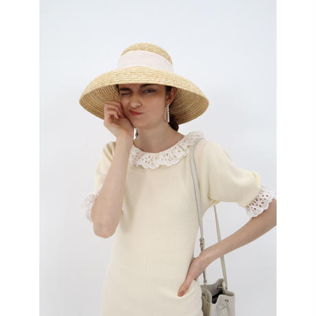 classical ribbon wide hat white