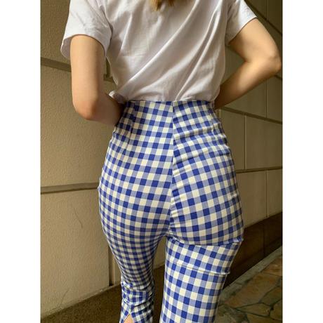 back slit gingham check pants ice blue