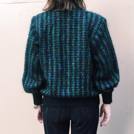 tweed design knit cardigan green