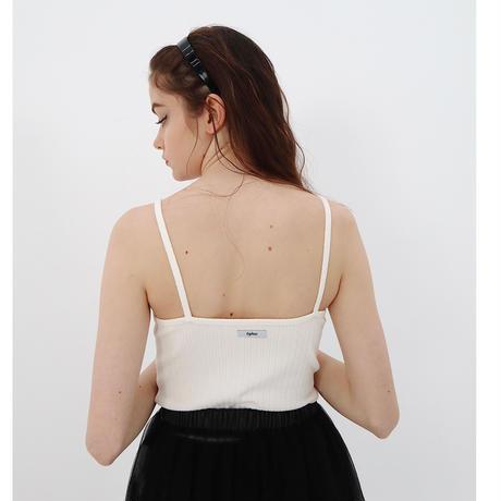 épine label camisole ribbon×white rib