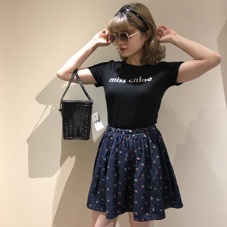flower embroidery denim mini skirt(No.962)