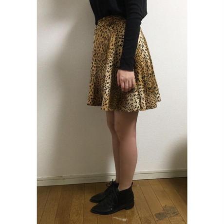 leopard fur flare skirt