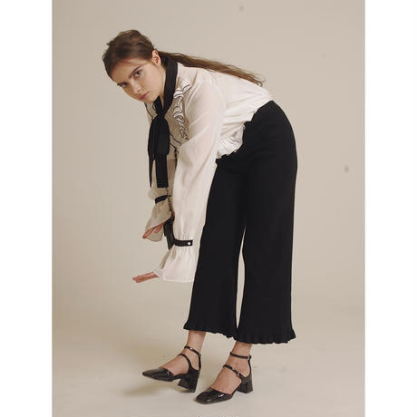frill knit pants black