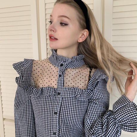 dot see-through gingham check blouse