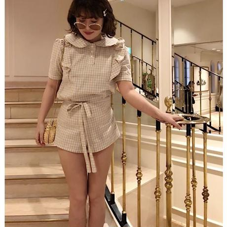 check frill ribbon blouse beige